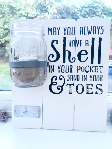 20% OFF Shell Sign With Glass Mason Style Jar